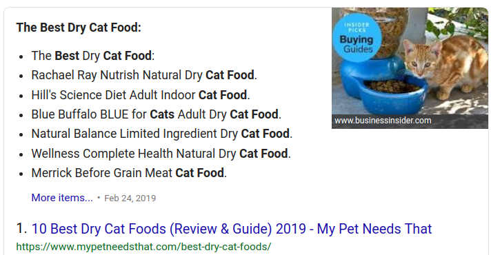 example of a listed featured snippet