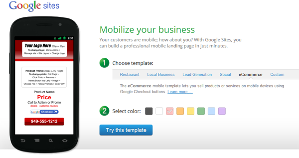 Mobilize Your Business Google Sites